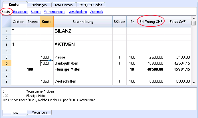 Kontenplan Banana Accounting Software