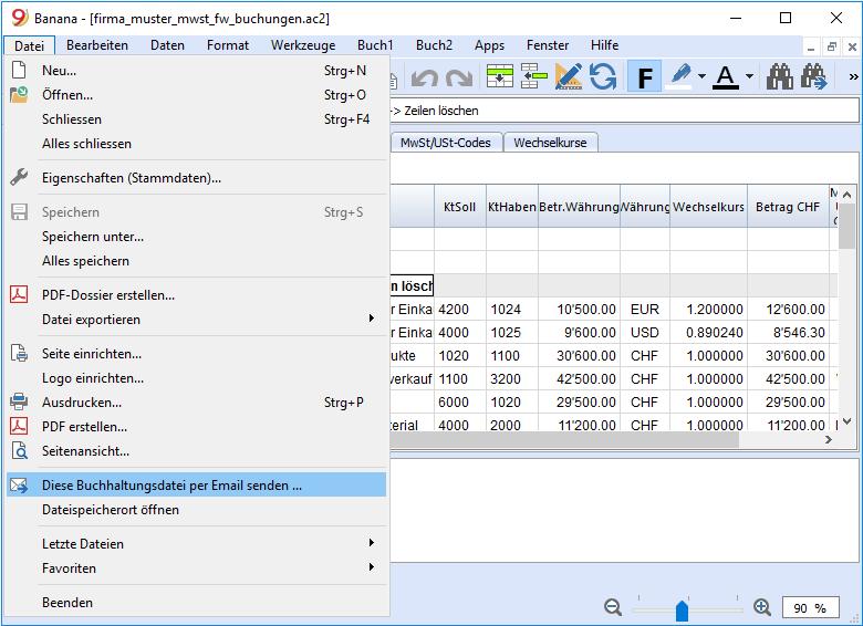 Charakteristiken | Banana Accounting Software