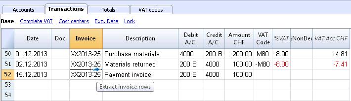 Entering Transactions Banana Accounting Software - Openinvoice supplier link