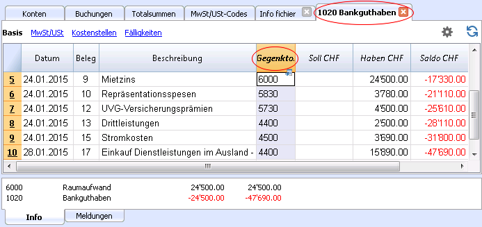 Kontoauszüge | Banana Accounting Software