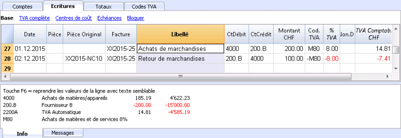 Introduire les écritures | Banana Universal Accounting Software