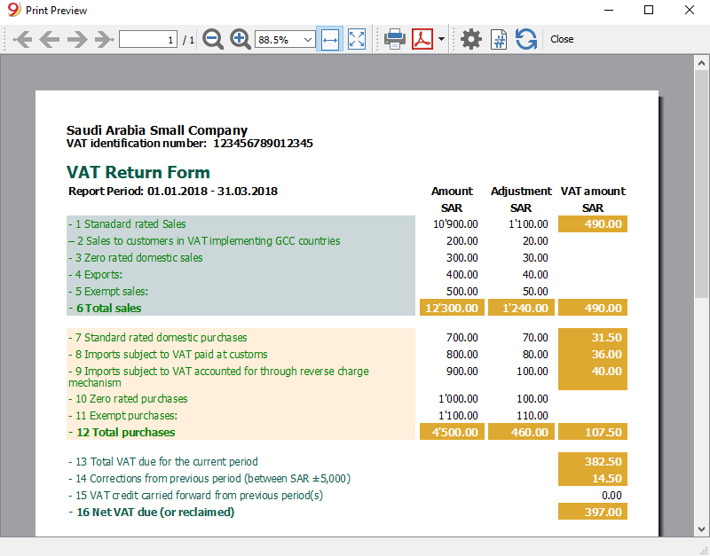 Create a VAT Report for Saudi Arabia | Banana Accounting