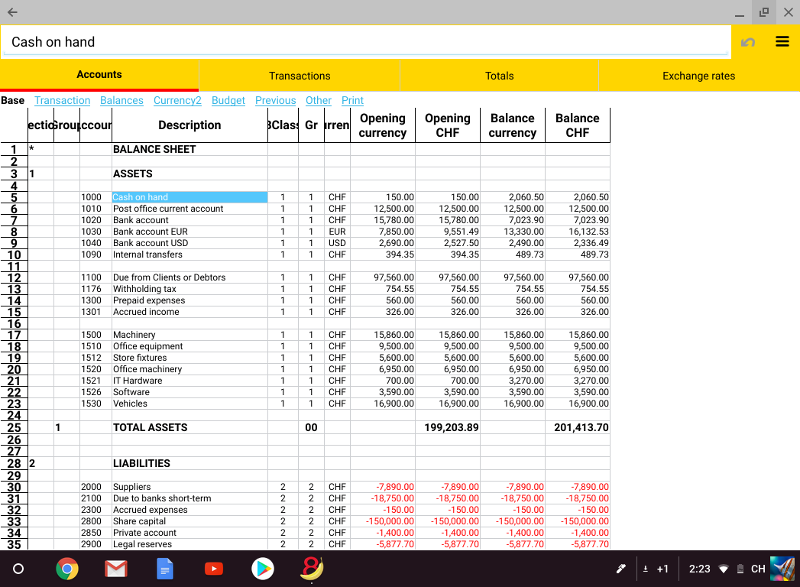 Accounts table on Chrome OS